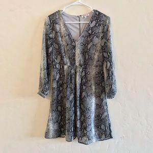 JustFab Gray Snakeskin Print Mini Dress Small